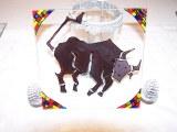 """Assiette carré de 19 cm peinte à la main, (lot de 6 assiettes), modèle original """"Toro d'oc"""""""