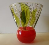 Vase verre peint jungle