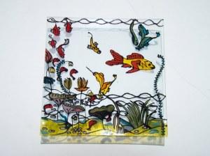 """Assiette carré de 25 cm de coté peinte à la main, modèle original """"mare nostrum"""""""