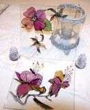 Assiette en verre carré de 19 cm de coté (lot de 6 assiettes) peinte à la main, modèle original