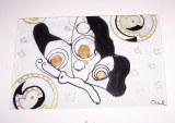 Dessous de plat en verre épais (27x31cm) peint à la main au verso.