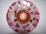 """Plat en verre peint, décor """"arabesques"""", ronde de 32cm"""