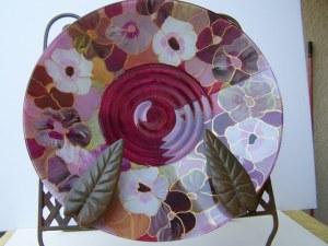 Plat en verre peint, décor verger, ronde de 32cm