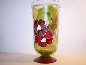 Vase fleurie peint, hauteur 22cm diamètre 12cm