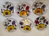 Assiette en verre fleur x 6