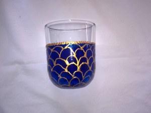 Verre à eau (lot de 6 verres) de 8cm de haut peint à la main modèle original (lot de 6 verres)