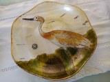 Plateau en verre oiseau