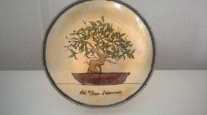 Assiette peinte à la main de 27cm de diamètre modèle original olivier