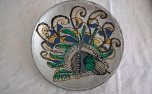 """Assiette peinte à la main (lot de 6 assiettes) de 23cm de diamètre modèle original """"Paon"""""""